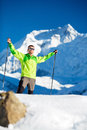 Man happy hiking winter mountains Royalty Free Stock Photo