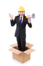 Man with hardhat and loudspeaker standing in the box Royalty Free Stock Photo