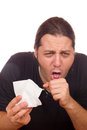 Man has a cold and cough sick Stock Photo