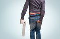 Man has diarrhea. Man holding toilet paper and butt. Royalty Free Stock Photo
