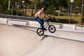 Man has fun with his BMX at the skatepark Royalty Free Stock Photo