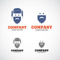 Man in hat company logo ushanka business Stock Images