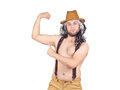 stock image of  Man in hat shows muscles.