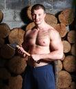 Man with hatchet Stock Photos