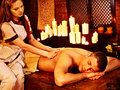 Man having ayurvedic spa treatment young men oil ayurveda Royalty Free Stock Photo