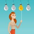 Man having business idea vector illustration.