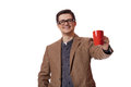 Man having cup of tea on white background Royalty Free Stock Photo