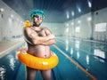 Man having fun in pool Royalty Free Stock Photo