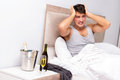The man having hangover after night party Royalty Free Stock Photo