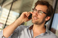 Man having phone conversation portrait of a handsome Royalty Free Stock Photos