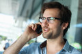 Man having phone conversation portrait of a handsome Royalty Free Stock Image