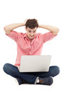 Man having problem with his laptop young Royalty Free Stock Image