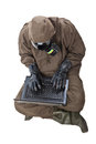 Man in hazard suit browsing the internet a wearing an nbc suite nuclear biological chemical Stock Image