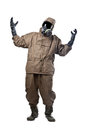 Man in hazard suit cursing a wearing an nbc suite nuclear biological chemical Stock Photos