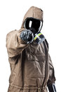Man in hazard suit pointing a wearing an nbc suite nuclear biological chemical Royalty Free Stock Photography