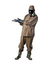 Man in hazard suit promoting something a wearing an nbc suite nuclear biological chemical Royalty Free Stock Images