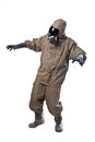 Man in hazard suit scared a wearing an nbc suite nuclear biological chemical Stock Photography
