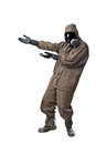 Man in hazard suit showing something a wearing an nbc suite nuclear biological chemical Royalty Free Stock Photos