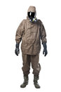 Man in hazard suit a wearing an nbc suite nuclear biological chemical Royalty Free Stock Photos