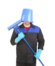 Man with head inside of bucket. Royalty Free Stock Photo