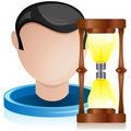 Man Head with Light Bulb Hourglass Stock Photos