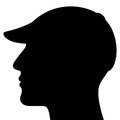 Man head silhouette with cap isolated on white background Stock Images