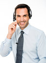man with headset working as a call center operator Royalty Free Stock Photo