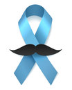 Man health blue ribbon with moustache