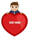 Man with heart background vector conceptual drawing art of young boy holding a banner for message illustration Stock Images