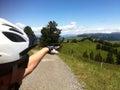 Man in helmet in Alps Royalty Free Stock Photo