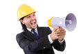 Man with helmet and loudspeaker on white Royalty Free Stock Photos