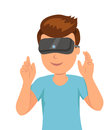 Man in a helmet virtual reality good pastime male character in the vr helmet waving his hands Royalty Free Stock Photos