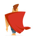 Man or hero with super red cloak cape. Back view.