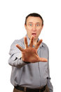 Man hides himself by hand Royalty Free Stock Photo