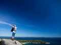 Man hiking acadia national park Royalty Free Stock Photos