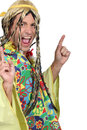 Man in a hippie costume Stock Photo