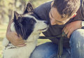 Man with his dog Royalty Free Stock Photo
