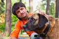 Man and his dog Royalty Free Stock Photo