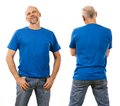 Man in his forties wearing blank blue shirt photo of a mid a ready for your design or artwork Stock Image