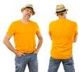 Man in his forties wearing blank orange shirt Royalty Free Stock Photo