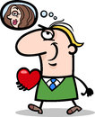 Man with his valentine cartoon illustration Royalty Free Stock Photos