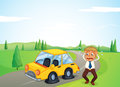 A man beside his yellow car with a flat tire illustration of Stock Photography