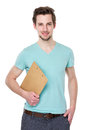 Man hold with clipboard Royalty Free Stock Photo