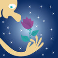A man hold a flower in his hand and inhales its fragrance at night under the stars starsn Royalty Free Stock Photos