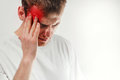 Man hold his had and suffering from headache, pain, migraine, sa Royalty Free Stock Photo