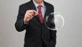 Man hold needle stab empty bubble an Royalty Free Stock Image