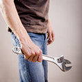 Man Holding Adjustable Wrench Royalty Free Stock Photo