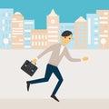 Man Holding a Bag Running along Office Buildings