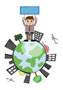 Man holding a banner on earth icon conceptual drawing art of young cartoon businessman ad and standing over the globe vector Stock Images