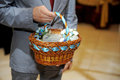 Man holding basket wedding flowers Royalty Free Stock Photography
